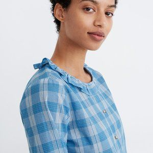 NWT madewell ruffle-neck top in colwell plaid, MED